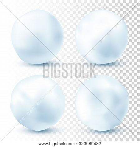 Snowball Isolated On Transparent Background. Snowballs Collection. Frozen Ice Ball. Winter Decoratio