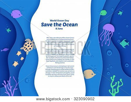 World Oceans Day 8 June. Paper Craft Depth Under Water Sea Cave With Fishes, Coral Reef, Seabed In A