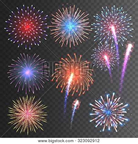 Festive Fireworks Collection. Realistic Colorful Firework On Transparent Background. Multicolored Ex