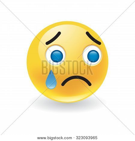 Sad Upset Little Yellow Round Emoticon Crying With A Large Blue Teardrop And Morose Expression Over
