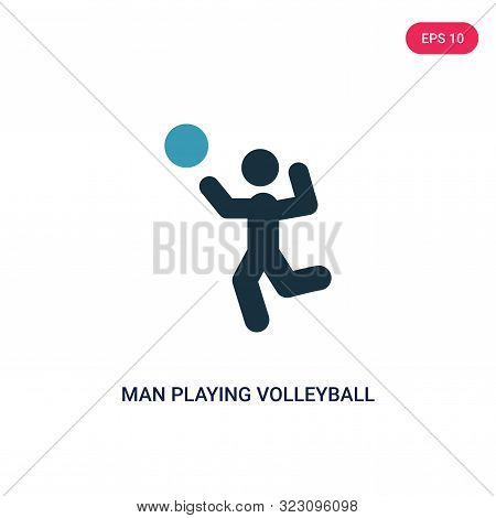 Man Playing Volleyball Icon In Two Color Design Style. Man Playing Volleyball Vector Icon Modern And