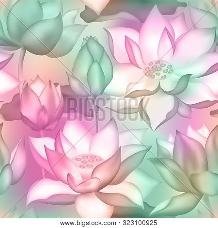 Lotus Buds And Flowers Seamless Background. Water Lilly Nelumbo Aquatic Plant Illustration. Sacred L
