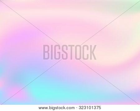 Blurred Hologram Texture Gradient Wallpaper. Vivid Pastel Rainbow Unicorn Background. Hologram Color