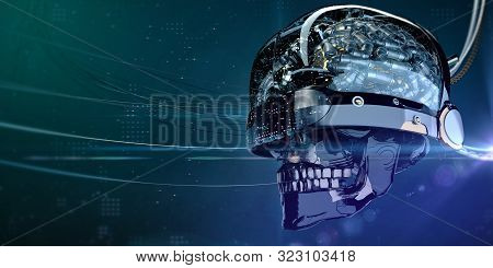 Wired Glossy Robotic Organ - Brain 3d Render Generative Neural Networks Machine Learning Quantum Com