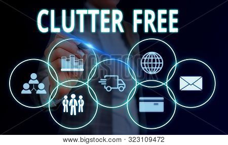 Handwriting text Clutter Free. Concept meaning Well organized and arranged Tidy All things in right places Woman wear formal work suit presenting presentation using smart device. poster