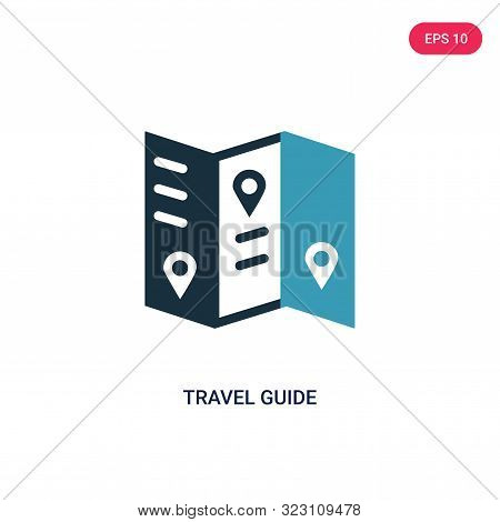 travel guide icon in two color design style.