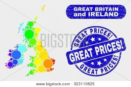 Spectrum Dot Great Britain And Ireland Map And Seal Stamps. Blue Rounded Great Prices Exclamation Gr