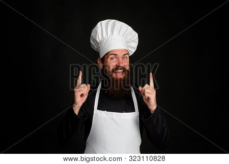 Cooking, Food, Profession And Inspiration Concept. Man Cook In Uniform. Chief Man In Chef Hat And Ap