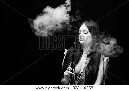 Attractive Busty Brunette Smoking Vaping Device. Girl Vaping. Hookah Bar. Electronic Cigarette. Fash
