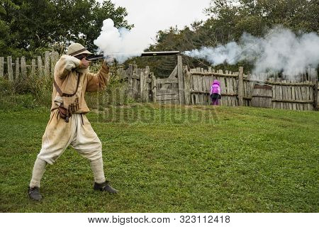 Actors Perfroms At The Pilgrim Homes, Plimoth Plantation, Massachusetts