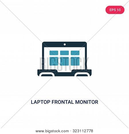 laptop frontal monitor icon in two color design style.