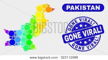 Spectrum Dotted Pakistan Map And Seal Stamps. Blue Round Gone Viral Exclamation Distress Seal. Gradi