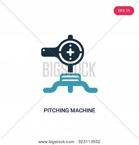 pitching machine icon in two color design style.
