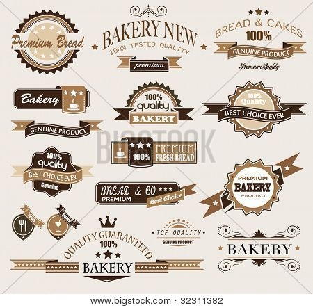 Premium collection of Bakery themed vintage style labels. A lot of different styles and shapes with place for your text.