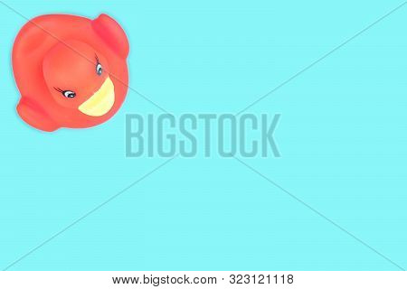 Rubber Duck. Yellow Plastic Toy For Bathroom. Ducky Background