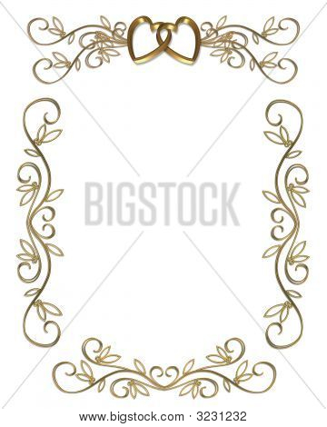 3D Illustrated design for 50th golden wedding Anniversary card frame or invitation. poster