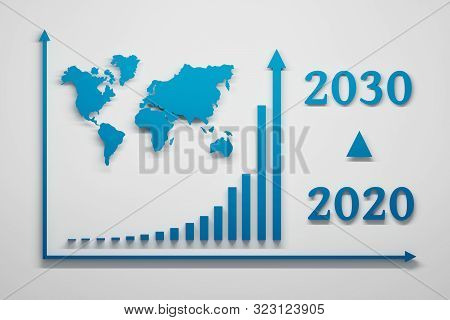 Future Trend Presented With Exponential Growth Chart Diagram, World Map And Year 2020 To 2030 Number