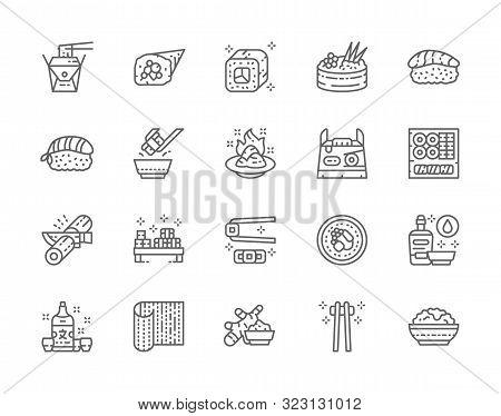 Set Of Japanese Food Line Icons. Ginger, Temaki, Nigiri, Wasabi, Soy And More.