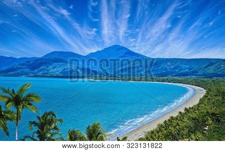 Aerial View Of Port Douglas Beach And Ocean On Sunny Day, Queensland, Australia