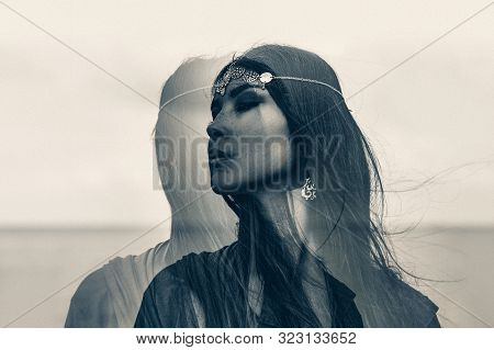 Beautiful Young Boho Style Woman Portrait Outdoors. Black And White. Double Exposure