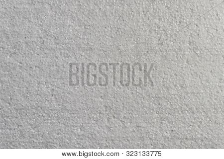 Closeup Detail View Of White Abstract Polystyrene Foam Texture Background. Plastic Sheet, Styrofoam,