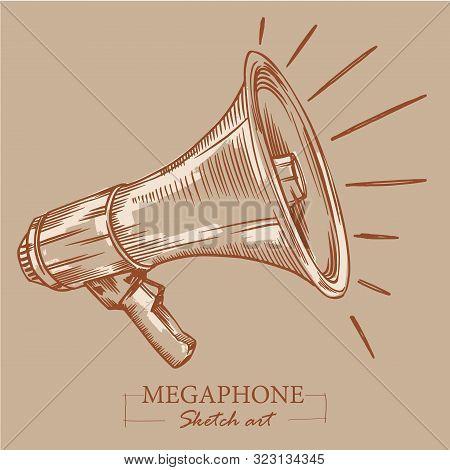 Brown Toned Modern Stylized Sketch Of Megaphone. Loudspeaker For Announcements, Bullhorn Sketch News