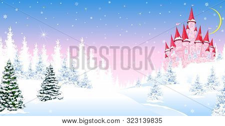 Cartoon Pink Castle On The Background Of Winter Snow-covered Forest. Winter Landscape With A Pink Ca