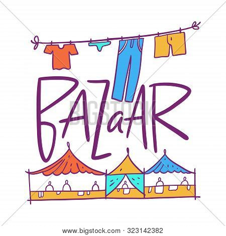 Bazaar Hand Drawn Vector Illustration. Isolated On White Background.