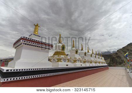 Chorten Or Stupa Religious Monument Symbolizing Buddhas Presence At Thiksey Monastery In Ladakh, Ind