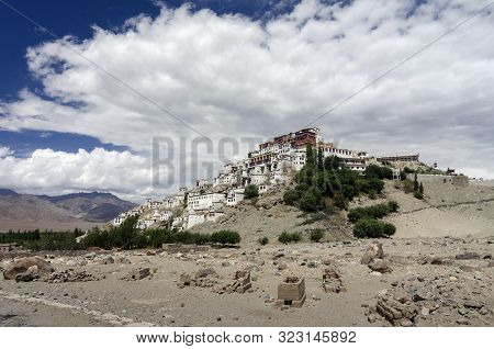 Thiksey Monastery Or Thiksey Gompa Atop A Hill, Ladakh, India.