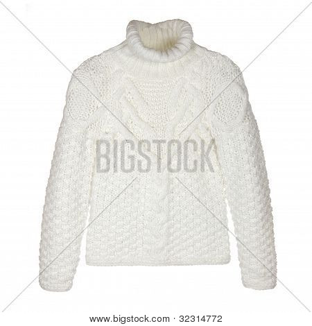 White Woolen Sweater Isolated On White