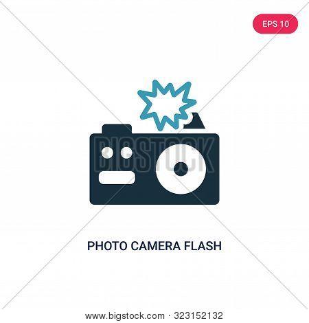 Photo Camera Flash Icon In Two Color Design Style. Photo Camera Flash Vector Icon Modern And Trendy