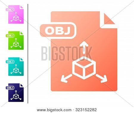 Coral Obj File Document. Download Obj Button Icon Isolated On White Background. Obj File Symbol. Set