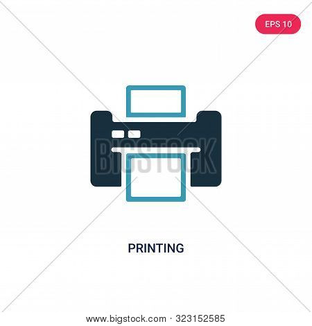 printing icon in two color design style.