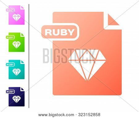 Coral Ruby File Document. Download Ruby Button Icon Isolated On White Background. Ruby File Symbol.