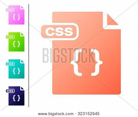 Coral Css File Document. Download Css Button Icon Isolated On White Background. Css File Symbol. Set