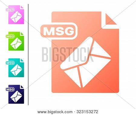 Coral Msg File Document. Download Msg Button Icon Isolated On White Background. Msg File Symbol. Set
