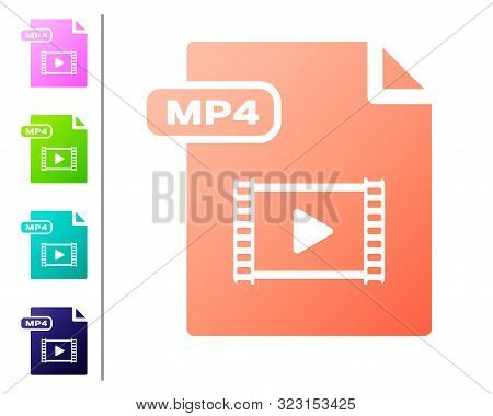 Coral Mp4 File Document. Download Mp4 Button Icon Isolated On White Background. Mp4 File Symbol. Set