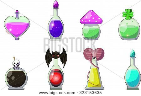 Set Of Potions On A White Background. Potions For Different Purposes. Love Potion, Good Luck Potion,