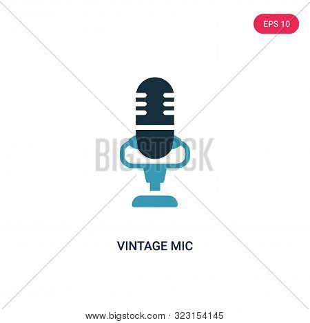 Vintage Mic Icon In Two Color Design Style. Vintage Mic Vector Icon Modern And Trendy Flat Symbol Fo