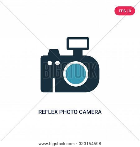 reflex photo camera icon in two color design style.