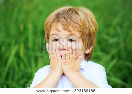 Funny Child Boy With Hands Close To Face Isolated On Green Background. Child Expressing Surprise Wit