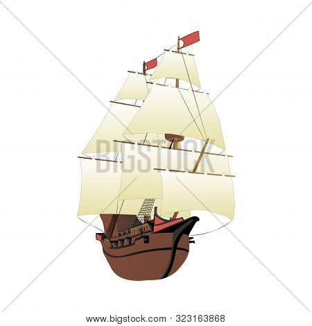 Galleon Isolated On White Background. Old Wooden Historical Sailing Boat. Vector.