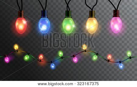 Vector Realistic Glowing Colorful Christmas Lights In Seamless Pattern And Individual Hanging Light