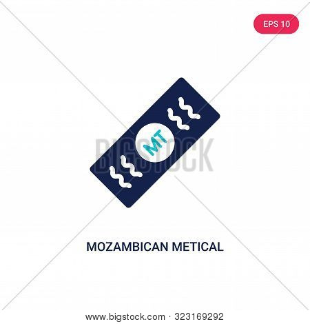 mozambican metical icon in two color design style.
