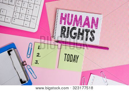 Text sign showing Huanalysis Rights. Conceptual photo Moral Principles Standards Norms of a showing protected by Law Writing equipments and computer stuffs placed above colored plain table. poster