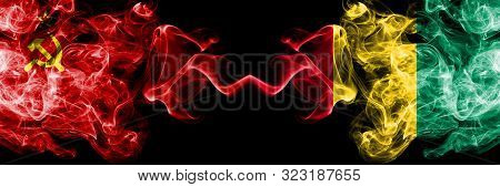 Communist Vs Guinea, Guinean Abstract Smoky Mystic Flags Placed Side By Side. Thick Colored Silky Sm