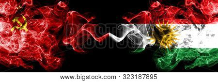 Communist Vs Kurdistan, Kurdish Abstract Smoky Mystic Flags Placed Side By Side. Thick Colored Silky