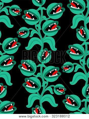 Flytrap Monster Plant Pattern Seamless. Flower Predator Carnivorous Plant Background . Angry Flowers