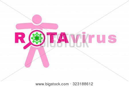 Rotavirus Icon. Gastroenteritis Sign. Stomach Flu Epidemic Logotype. Editable Vector Illustration In